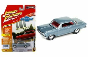 1965 Chevrolet Nova SS Glacier Gray Poly Limited Edition to 1800pc Worldwide Hobby Exclusive Muscle Cars USA 1/64 Diecast Model Car Johnny Lightning JLMC010 B