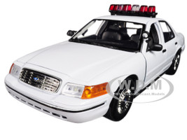 2001 Ford Crown Victoria Police Car Plain White with Flashing Light Bar Front and Rear Lights and Sounds 1/18 Diecast Model Car Motormax 73992