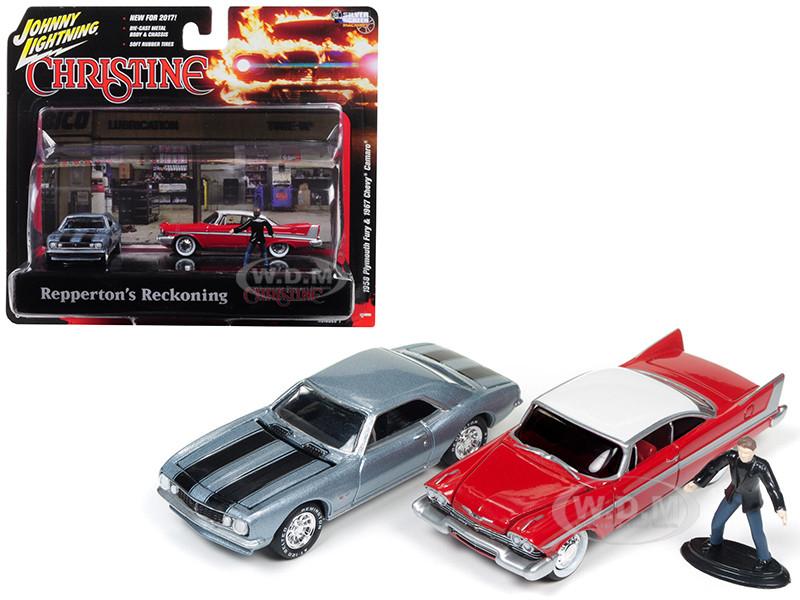 1967 Chevrolet Camaro 1958 Plymouth Fury Buddy Repperton Figurine Repperton's Reckoning Scene Christine 1983 Movie 1/64 Diecast Model Cars Johnny Lightning JLDR001