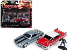 1967 Chevrolet Camaro 1958 Plymouth Fury Buddy Repperton Figurine Repperton's Reckoning Scene Christine 1983 Movie 1/64 Diecast Model Cars Johnny Lightning JLDR001