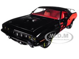1971 Plymouth Hemi Cuda Gloss Black with Bright Red Stripes 1/24 Diecast Model Car M2 Machines 40300-58 A
