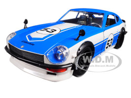 1972 Datsun 240Z #53 Blue White JDM Tuners 1/24 Diecast Model Car Jada 99099