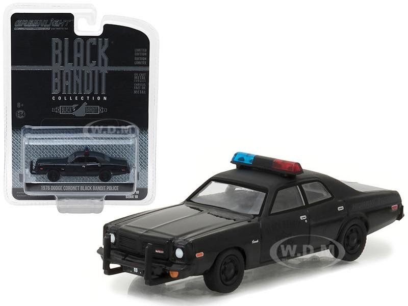 GREENLIGHT 1:64 BLACK BANDIT 1976 DODGE CORONET POLICE 27930-C