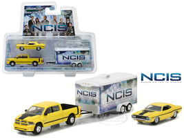 2015 Dodge Ram 1500 Pickup Yellow with 1970 Dodge Challenger R/T Yellow with Enclosed Car Trailer which has Opening Rear Hatch NCIS 2003-Current TV Series Hollywood Hitch and Tow Series 4 1/64 Diecast Model Greenlight 31040 C