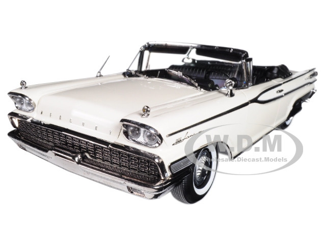 1959 Mercury Park Lane Open Convertible Marble White Platinum Edition 1/18 Diecast Model Car SunStar 5154