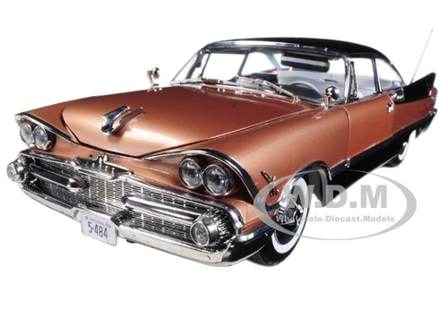 1959 Dodge Custom Royal Lancer Hard Top Mocha Jet Black Platinum Edition 1/18 Diecast Model Car SunStar 5484