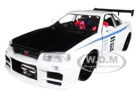 2002 Nissan Skyline GT-R R34 White #02 JDM Tuners 1/24 Diecast Model Car Jada 99113