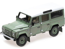 2015 Land Rover Defender 110 HUE 166 Green Metallic White Top Heritage Edition Limited Edition 3000 pieces Worldwide 1/18 Diecast Model Car Almost Real 810307
