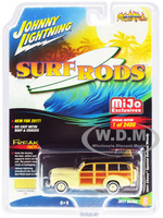 1941 Chevrolet Special Deluxe Woody Cameo Cream Limited Edition to 2400pc Worldwide Surf Rods 1/64 Diecast Model Car Johnny Lightning JLCP7021