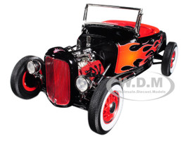 1932 Ford Hot Rod Black with Flames Limited Edition 1/18 Diecast Model Car Acme A1804002