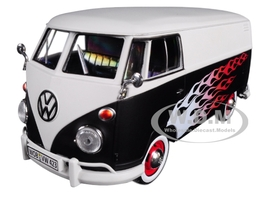 Volkswagen Type 2 T1 Delivery Van with Flames 1/24 Diecast Car Model Motormax 79566