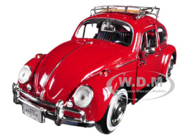 1966 Volkswagen Classic Beetle Red 1/24 Diecast Car Model Motormax 79558 79559