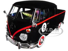 Volkswagen Type 2 T1 Double Cab Pickup #8 Matt Black 1/24 Diecast Car Model Motormax 79562