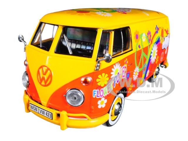 Volkswagen Type 2 T1 Delivery Van Flower Power 1/24 Diecast Car Model Motormax 79563