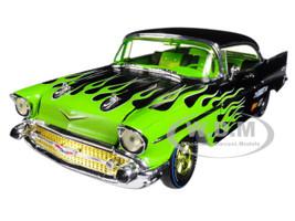 1957 Chevrolet Bel Air Hard Top Black with Flames 1/24 Diecast Model Car M2 Machines 40300-59 B