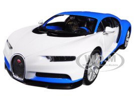 Bugatti Chiron Blue White Exotics 1/24 Diecast Model Car Maisto 32509