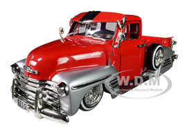1951 Chevrolet Lowrider Pickup Truck Red Silver Just Trucks 1/24 Diecast Model Car Jada 97229