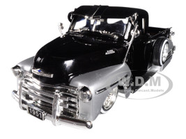 1951 Chevrolet Lowrider Pickup Truck Black Silver Just Trucks 1/24 Diecast Model Car Jada 99035