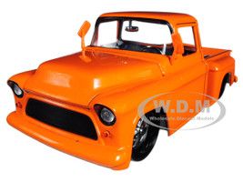 1955 Chevrolet Stepside Pickup Truck Orange 1/24 Diecast Car Model Jada 99040
