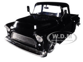 1955 Chevrolet Stepside Pickup Truck Black with Black Wheels 1/24 Diecast Car Model Jada 99041