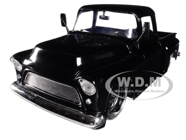 1955 Chevrolet Stepside Pickup Truck Black with Black Wheels 1/24 Diecast Car Model Jada 99041