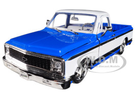 1972 Chevrolet Cheyenne Pickup Truck Blue White Just Trucks 1/24 Diecast Model Car Jada 99046