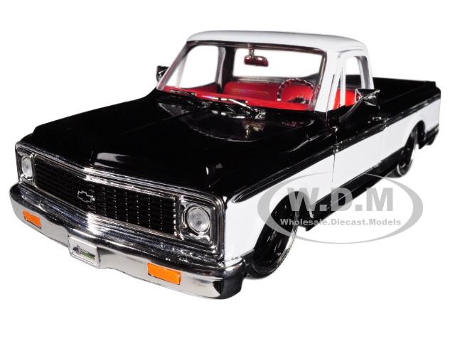 1972 Chevrolet Cheyenne Pickup Truck Black White Just Trucks 1/24 Diecast Model Car Jada 99047