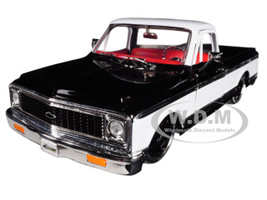 1972 Chevrolet Cheyenne Pickup Truck Black White Just Trucks 1/24 Diecast Model Car Jada 99047
