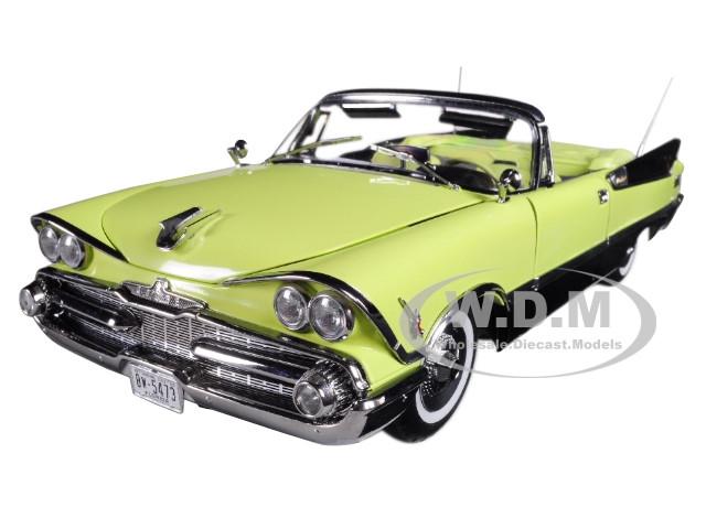 1959 Dodge Custom Royal Lancer Open Convertible Canary Diamond Jet Black Platinum Edition 1/18 Diecast Model Car Sunstar 5473