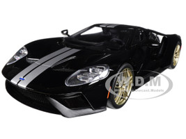 2017 Ford GT Black with Silver Stripes 1/18 Model Car GT Spirit for Acme US001 B