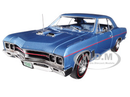 1967 Buick GS Hardtop Sapphire Blue and 1/64 Scale 1967 Buick GS Hardtop Sapphire Blue 2 Cars Set Limited Edition to 1002pc 1/18 Diecast Model Car Autoworld AMM1115