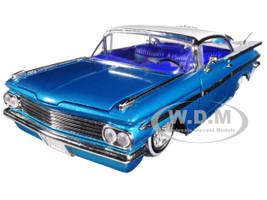 1959 Chevrolet Impala Blue Lowrider Series Street Low 1/24 Diecast Model Car Jada 98923