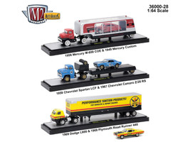 Auto Haulers Release 28 3 Trucks Set 1/64 Diecast Models M2 Machines 36000-28
