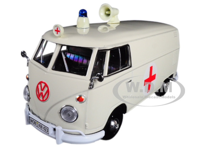 40bad7318a28ae Volkswagen Type 2 T1 Ambulance Cream 1 24 Diecast Model Car ...