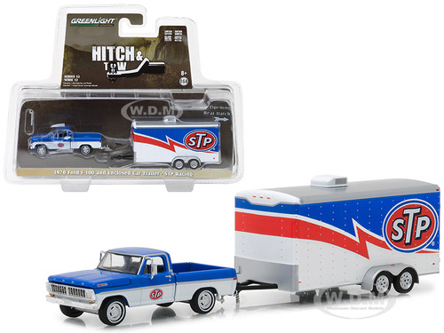 1970 Ford F-100 and Enclosed Car Trailer STP Racing Hitch & Tow Series 12 1/64 Diecast Car Model Greenlight 32120 A