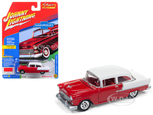 1955 Chevrolet 2 Door Sedan Gypsy Red with Gloss White Classic Gold Limited Edition to 1800pc Worldwide Hobby Exclusive 1/64 Diecast Model Car Johnny Lightning JLSP005 B