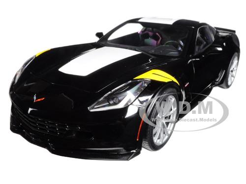 2017 Chevrolet Corvette C7 Grand Sport Black with White Stripe and Yellow Fender Hash Marks 1/18 Model Car Autoart 71273