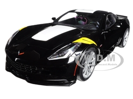 2017 Chevrolet Corvette C7 Grand Sport Black with White Stripe and Yellow Fender Hash Marks 1/18 Model Car Autoart 71273