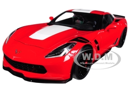 2017 Chevrolet Corvette C7 Grand Sport Red with White Stripe and Black Fender Hash Marks 1/18 Model Car Autoart 71274