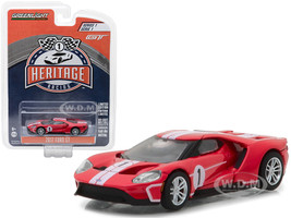 2017 Ford GT Red #1 Tribute to 1967 Ford GT40 MK IV #1 Racing Heritage Series 1 1/64 Diecast Model Car Greenlight 13200 D