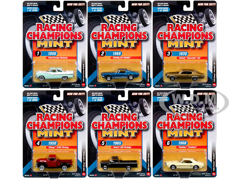 2017 Mint Release 3 Set A Set of 6 Cars 1/64 Diecast Model Cars Racing Champions RC005 A