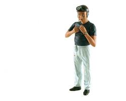 1950's Juan Manuel Fangio Reaching Up to Attach Helmet Figurine for 1/18 Diecast Model Cars Lemans Miniatures 180027