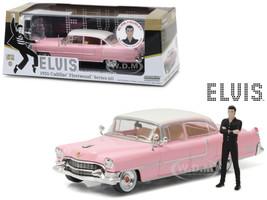 Elvis Presley's 1955 Pink Cadillac Fleetwood Series 60 with Elvis Presley Figurine 1/43 Diecast Model Car Greenlight 86436
