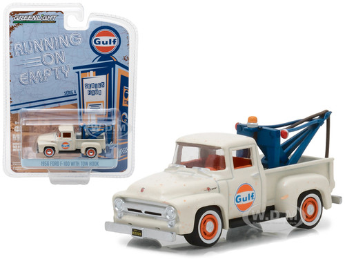 1956 Ford F-100 with Drop-In Tow Hook Gulf Oil Running on Empty Series 4 1/64 Diecast Model Car Greenlight 41040 C