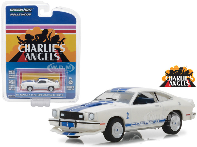 1976 Ford Mustang II Cobra II White Jill Munroe's Charlie's Angels 1976 1981 TV Series Hollywood Series Release 19 1/64 Diecast Model Car Greenlight 44790 A