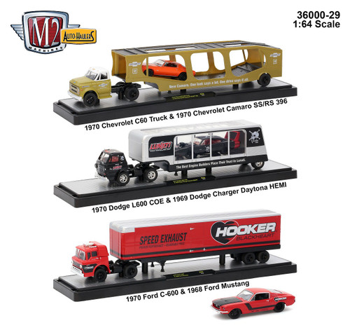 Auto Haulers Release 29 3 Trucks Set 1/64 Diecast Models M2 Machines 36000-29
