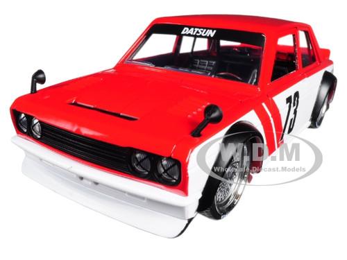 1973 Datsun 510 Widebody #73 Red JDM Tuners 1/24 Diecast Model Car Jada 99097