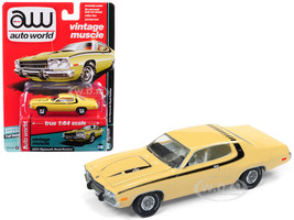 1974 Plymouth Road Runner Yellow Blaze with Black Stripes Auto World's Premium Limited Edition to 1800 pieces Worldwide 1/64 Diecast Model Car Autoworld AWSP002 A
