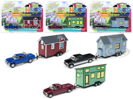 Tiny Houses Set of 3 Trucks 1/64 Diecast Model Cars Johnny Lightning JLTH002