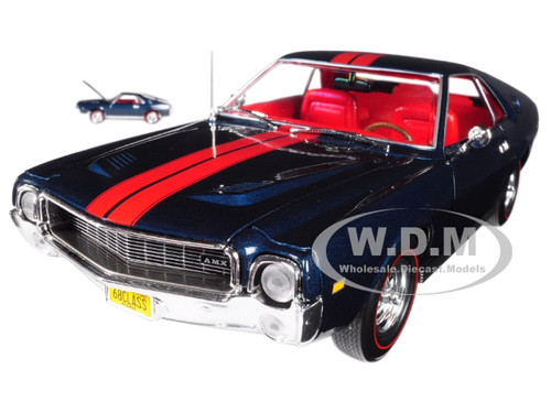1968 AMC AMX Hardtop Blazer Blue Class of 68 50th Anniversary 1/18 and 1/64 2 Cars Set Limited Edition to 1002 pieces Worldwide Diecast Model Car Autoworld AMM1124